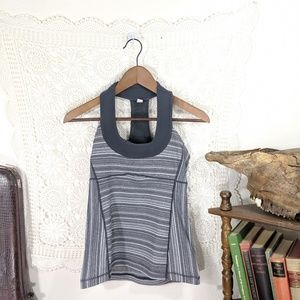 lululemon athletica Tops - Lululemon grey striped mesh panel tank